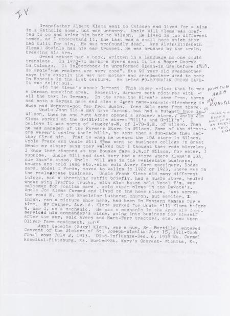 LEROY KLEMA'S FAMILY HISTORY SUMMARY PAGE 4