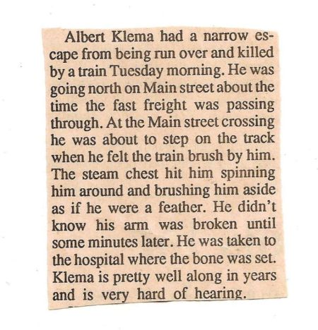 Klema Albert hit by train